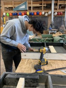 Lopez Mejia in his carpentry class