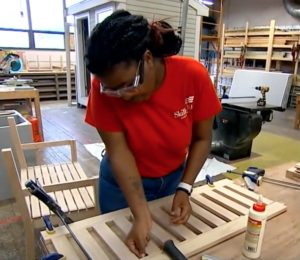 Lewis in her carpentry class.